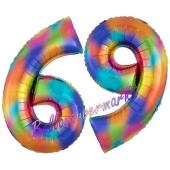 Zahl 69 Regenbogen, Zahlen Luftballons aus Folie zum 69. Geburtstag, inklusive Helium