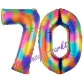 Zahl 70 Regenbogen, Zahlen Luftballons aus Folie zum 70. Geburtstag, inklusive Helium