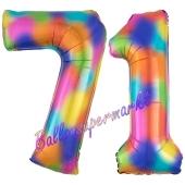 Zahl 71 Regenbogen, Zahlen Luftballons aus Folie zum 71. Geburtstag, inklusive Helium