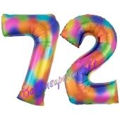 Zahl 72 Regenbogen, Zahlen Luftballons aus Folie zum 72. Geburtstag, inklusive Helium