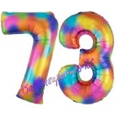 Zahl 73 Regenbogen, Zahlen Luftballons aus Folie zum 73. Geburtstag, inklusive Helium