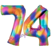 Zahl 74 Regenbogen, Zahlen Luftballons aus Folie zum 74. Geburtstag, inklusive Helium