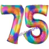 Zahl 75 Regenbogen, Zahlen Luftballons aus Folie zum 75. Geburtstag, inklusive Helium