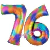 Zahl 76 Regenbogen, Zahlen Luftballons aus Folie zum 76. Geburtstag, inklusive Helium