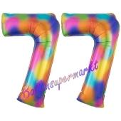 Zahl 77 Regenbogen, Zahlen Luftballons aus Folie zum 77. Geburtstag, inklusive Helium