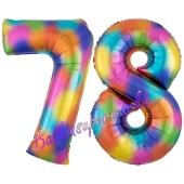 Zahl 78 Regenbogen, Zahlen Luftballons aus Folie zum 78. Geburtstag, inklusive Helium