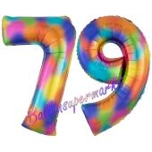 Zahl 79 Regenbogen, Zahlen Luftballons aus Folie zum 79. Geburtstag, inklusive Helium