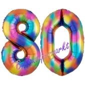 Zahl 80 Regenbogen, Zahlen Luftballons aus Folie zum 80. Geburtstag, inklusive Helium