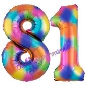 Zahl 81 Regenbogen, Zahlen Luftballons aus Folie zum 81. Geburtstag, inklusive Helium