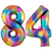 Zahl 84 Regenbogen, Zahlen Luftballons aus Folie zum 84. Geburtstag, inklusive Helium