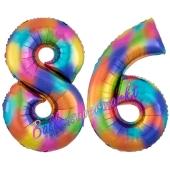 Zahl 86 Regenbogen, Zahlen Luftballons aus Folie zum 86. Geburtstag, inklusive Helium