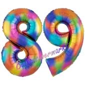 Zahl 89 Regenbogen, Zahlen Luftballons aus Folie zum 89. Geburtstag, inklusive Helium