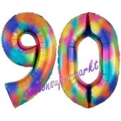 Zahl 90 Regenbogen, Zahlen Luftballons aus Folie zum 90. Geburtstag, inklusive Helium