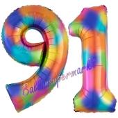 Zahl 91 Regenbogen, Zahlen Luftballons aus Folie zum 91. Geburtstag, inklusive Helium