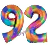 Zahl 92 Regenbogen, Zahlen Luftballons aus Folie zum 92. Geburtstag, inklusive Helium