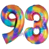 Zahl 93 Regenbogen, Zahlen Luftballons aus Folie zum 93. Geburtstag, inklusive Helium