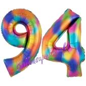 Zahl 94 Regenbogen, Zahlen Luftballons aus Folie zum 94. Geburtstag, inklusive Helium
