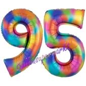 Zahl 95 Regenbogen, Zahlen Luftballons aus Folie zum 95. Geburtstag, inklusive Helium