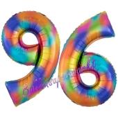 Zahl 96 Regenbogen, Zahlen Luftballons aus Folie zum 96. Geburtstag, inklusive Helium