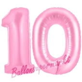 Zahl 10 Rosa, Luftballons aus Folie zum 10. Geburtstag, 100 cm, inklusive Helium