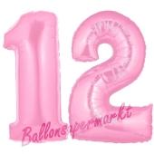 Zahl 12 Rosa, Luftballons aus Folie zum 12. Geburtstag, 100 cm, inklusive Helium