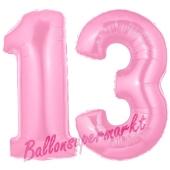 Zahl 13 Rosa, Luftballons aus Folie zum 13. Geburtstag, 100 cm, inklusive Helium