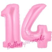 Zahl 14 Rosa, Luftballons aus Folie zum 14. Geburtstag, 100 cm, inklusive Helium