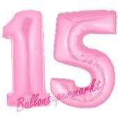 Zahl 15 Rosa, Luftballons aus Folie zum 15. Geburtstag, 100 cm, inklusive Helium