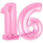 Zahl 16 Rosa, Luftballons aus Folie zum 16. Geburtstag, 100 cm, inklusive Helium