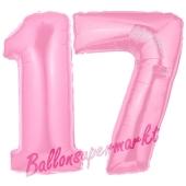 Zahl 17 Rosa, Luftballons aus Folie zum 17. Geburtstag, 100 cm, inklusive Helium