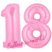 Zahl 18 Rosa, Luftballons aus Folie zum 18. Geburtstag, 100 cm, inklusive Helium