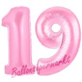 Zahl 19 Rosa, Luftballons aus Folie zum 19. Geburtstag, 100 cm, inklusive Helium