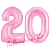 Zahl 20 Rosa, Luftballons aus Folie zum 20. Geburtstag, 100 cm, inklusive Helium