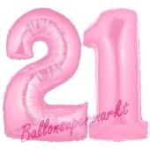 Zahl 21 Rosa, Luftballons aus Folie zum 21. Geburtstag, 100 cm, inklusive Helium