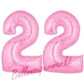 Zahl 22 Rosa, Luftballons aus Folie zum 22. Geburtstag, 100 cm, inklusive Helium