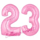 Zahl 23 Rosa, Luftballons aus Folie zum 23. Geburtstag, 100 cm, inklusive Helium