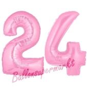 Zahl 24 Rosa, Luftballons aus Folie zum 24. Geburtstag, 100 cm, inklusive Helium