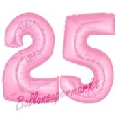 Zahl 25 Rosa, Luftballons aus Folie zum 25. Geburtstag, 100 cm, inklusive Helium