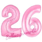 Zahl 26 Rosa, Luftballons aus Folie zum 26. Geburtstag, 100 cm, inklusive Helium