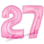Zahl 27 Rosa, Luftballons aus Folie zum 27. Geburtstag, 100 cm, inklusive Helium