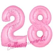 Zahl 28 Rosa, Luftballons aus Folie zum 28. Geburtstag, 100 cm, inklusive Helium