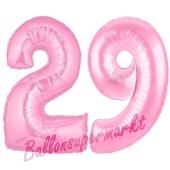 Zahl 29 Rosa, Luftballons aus Folie zum 29. Geburtstag, 100 cm, inklusive Helium