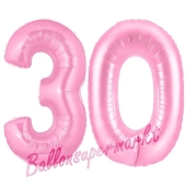 Zahl 30 Rosa, Luftballons aus Folie zum 30. Geburtstag, 100 cm, inklusive Helium