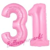 Zahl 31 Rosa, Luftballons aus Folie zum 31. Geburtstag, 100 cm, inklusive Helium
