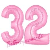 Zahl 32 Rosa, Luftballons aus Folie zum 32. Geburtstag, 100 cm, inklusive Helium