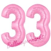 Zahl 33 Rosa, Luftballons aus Folie zum 33. Geburtstag, 100 cm, inklusive Helium