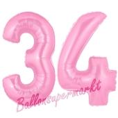 Zahl 34 Rosa, Luftballons aus Folie zum 34. Geburtstag, 100 cm, inklusive Helium