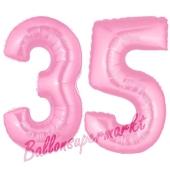 Zahl 35 Rosa, Luftballons aus Folie zum 35. Geburtstag, 100 cm, inklusive Helium