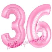 Zahl 36 Rosa, Luftballons aus Folie zum 36. Geburtstag, 100 cm, inklusive Helium
