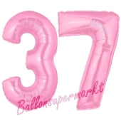 Zahl 37 Rosa, Luftballons aus Folie zum 37. Geburtstag, 100 cm, inklusive Helium